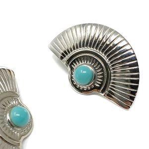Vintage Concho Half Circle Silver Post Earrings